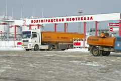 Fuel truck with an orange tank on the outskirts of Stock Images
