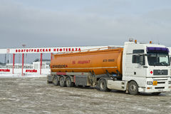 Fuel truck with an orange tank on the outskirts of the Volgograd oil Depots Royalty Free Stock Images