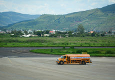 Fuel truck running at airport in Haiphong, Vietnam Royalty Free Stock Image