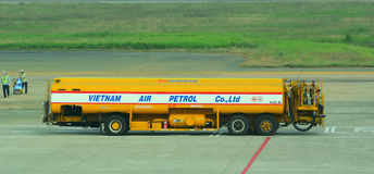 A fuel truck in Tan Son Nhat International Airport Royalty Free Stock Image