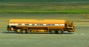 A fuel truck in Tan Son Nhat International Airport Royalty Free Stock Images