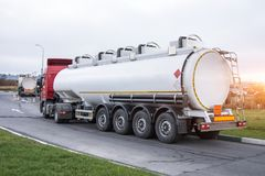Fuel truck waiting in line for unloading at a fuel automobile refueling. Fuel truck waiting in line for unloading at a fuel automobile refueling stock photos