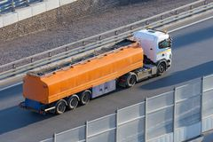 Fuel truck waiting in line for unloading at a fuel automobile refueling stock photography