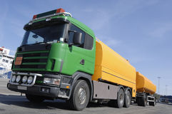 Fuel-truck, yellow and green Royalty Free Stock Image