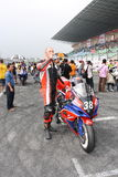 Fuel up. Jason Broome from Hong Kong is recharging before the start of the race in ZIC Superbike of 2009 Pan Delta Super Racing Festival - Spring Race Stock Image
