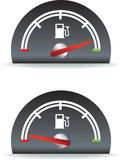 Fuel usage. Fuel gauge shown as full and empty illustration royalty free illustration