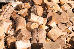 Fuel wood, natural. Wooden background. Chopped. Texture Stock Photography