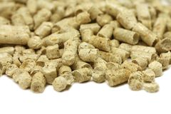 Fuel wood pellets. On a white background Stock Photo