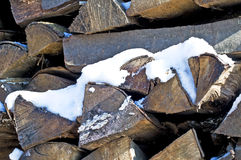 Fuel-wood in wintertime Royalty Free Stock Image