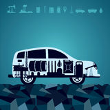 Fuel for your car. Oil industry icons on a car silhouette stock illustration
