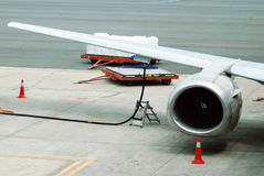 Fueling the aircraft Stock Photo