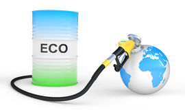Fueling earth from pump nozzle on white background Royalty Free Stock Photography