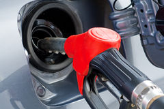 Fuelling Car Close. Automatic Fuelling Car with gasoline Royalty Free Stock Photo