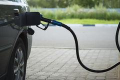 Fuelling nozzle inserted into the gas tank of the car. The filling gun at a gas station is inserted in the tank of the car Stock Image