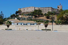 Fuengirola beach and castle. Royalty Free Stock Photography