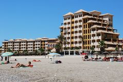 Fuengirola beach and hotel. Royalty Free Stock Photo