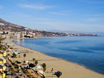 Fuengirola beach resort, Andalucia, Spain. High vantage view of Fuengirola beach from hotel room Stock Image
