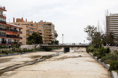 Fuengirola Spain. Dry river nearby the ocean with railway track Royalty Free Stock Images
