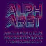 Fuente abstracta del alfabeto del esquema Letras may?sculas y n?meros stock de ilustración