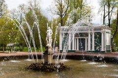 Fuente Adán. Peterhof Foto de archivo