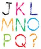 fuente Alfabeto #1 Letras J-Q + signo de interrogación (?) Fotografía de archivo libre de regalías