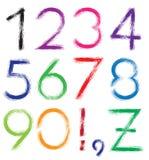 fuente Alfabeto #1 Números 0-9 + marca de exclamación (!) + coma + Fotografía de archivo libre de regalías