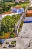 Fuente antigua Obidos Portugal del acueducto de Usseira Foto de archivo libre de regalías