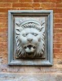 Fuente antigua para el agua con una cabeza del ` s del león Fotos de archivo libres de regalías