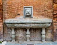 Fuente antigua para el agua con una cabeza del ` s del león Imagen de archivo