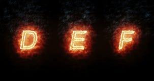Fuente ardiente d, e, f, texto de la palabra del fuego con la llama y humo en el fondo negro, concepto de decoración del alfabeto stock de ilustración