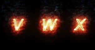 Fuente ardiente v, w, x, texto de la palabra del fuego con la llama y humo en el fondo negro, concepto de decoración del alfabeto stock de ilustración