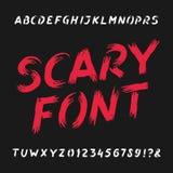 Fuente asustadiza del alfabeto Letras, números y símbolos sucios Fotos de archivo