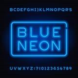Fuente azul del alfabeto del tubo de neón Letras intrépidas y números del color de neón libre illustration