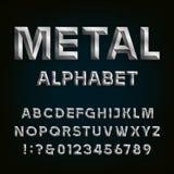 Fuente biselada del metal Alfabeto del vector Imágenes de archivo libres de regalías