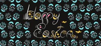 Fuente blanca exhausta de Pascua de la mano decorativa de la composición en fondo negro Garabato divertido del conejito, huevos  ilustración del vector