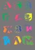 Fuente brillante de la falta de definición de las linearidades de la mano del alfabeto Foto de archivo libre de regalías