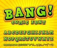 Fuente cómica creativa Alfabeto del vector en arte pop del estilo Imagen de archivo