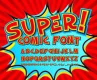Fuente cómica creativa Alfabeto del vector en arte pop del estilo Fotos de archivo