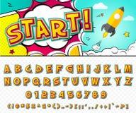 Fuente cómica creativa Alfabeto del vector en arte pop del estilo Fotografía de archivo libre de regalías