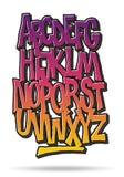 Fuente cómica de la pintada de la historieta brillante Alfabeto del vector Fotografía de archivo
