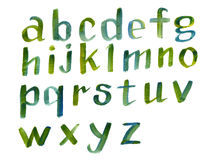 Fuente caligráfica dibujada mano del alfabeto colorido de la acuarela Letras de la acuarela Foto de archivo