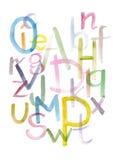 Fuente caligráfica dibujada mano del alfabeto colorido de la acuarela Letras de la acuarela Foto de archivo libre de regalías