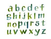 Fuente caligráfica dibujada mano del alfabeto colorido de la acuarela Letras de la acuarela Ilustración del vector Fotos de archivo libres de regalías