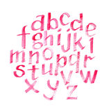 Fuente caligráfica dibujada mano del rosa de la acuarela Letras de la acuarela Imagen de archivo