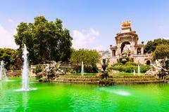 Fuente Cascada en Parc de la Ciutadella Imagen de archivo
