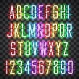 Fuente casual de neón de la escritura de los colores multi que brilla intensamente Imágenes de archivo libres de regalías