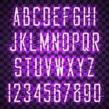 Fuente casual de neón púrpura de la escritura que brilla intensamente Imagen de archivo
