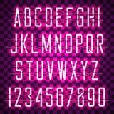 Fuente casual de neón púrpura de la escritura que brilla intensamente Imagenes de archivo