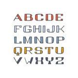 Fuente coloreada handdrawn aislada de sans serif Foto de archivo libre de regalías
