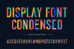Fuente colorida Alfabeto condensado colorido y fuente ilustración del vector